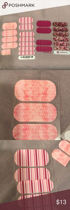 """JAMBERRY nail wraps in pinks JAMBERRY nail wraps in pinks. Striped one is called """"Dearest"""". Al have pink or purple tones. A couple have glitter and one of them has sparkly polka dots Jamberry Makeup"""