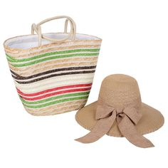 ithal krem plaj çantası,kahve fiyonklu hasır şapka