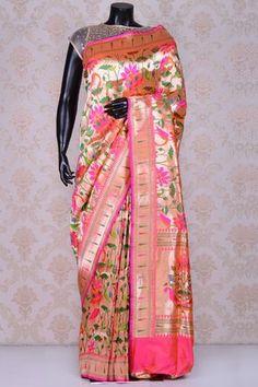 Pink perfect banarasi silk saree with dull gold border-SR20297