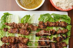 beef satay with spicy mango dip