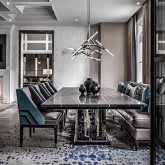Masculine dining room design by l Photographed by . Dining Room Decor Modern, Modern Kitchen Tables, Dining Room Table Decor, Elegant Dining Room, Luxury Dining Room, Dining Room Lighting, Dining Room Design, Modern Room, Dining Rooms