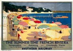 Southern Railway travel poster. Summer-Time in The French Riviera