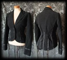 Gothic Black Fitted Tailored RINGMASTER Riding Jacket Tail Coat 8 10 Victorian - £49.00