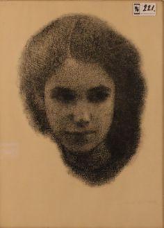 """Paul Citroen litho, """"Portret van jonge vrouw"""""""