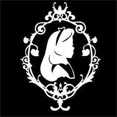 Alice in Wonderland Silhouette vinyl decal Deco Disney, Arte Disney, Disney Art, Alice In Wonderland Silhouette, Alice In Wonderland Party, Silhouette Vinyl, Silhouette Projects, Kirigami, Arte Do Harry Potter