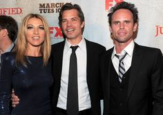 "Timothy Olyphant Natalie Zea Photos Photos - (L-R)  Actress Natalie Zea, actor Timothy Olyphant and actor Walton Goggins arrive at the premiere of FX Networks & Sony Pictures Television's ""Justified"" at the Director's Guild Theater on March 8, 2010 in Los Angeles, California. - Premiere Of FX Networks & Sony Pictures Television's ""Justified"" - Arrivals"