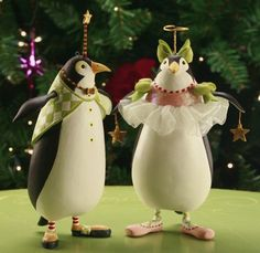Thaddeus and Millicent Penguin Ornaments Set of 2 | Patience Brewster | 08-30572