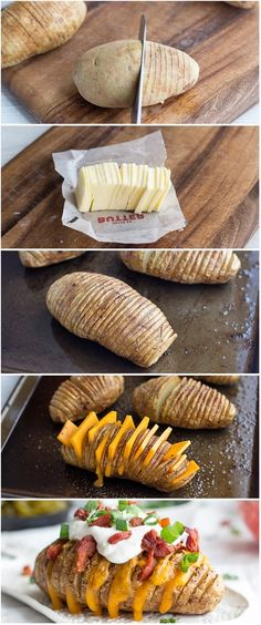 Loaded Hasselback Potatoes ::maybe olive oil instead of butter? Or just not so much, slightly healthier Loaded Hasselback Potatoes ::maybe olive oil instead of butter? Or just not so much, slightly healthier I Love Food, Good Food, Yummy Food, Tasty, Great Recipes, Dinner Recipes, Dinner Ideas, Family Recipes, Drink Recipes
