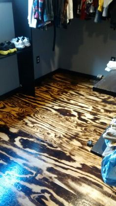 Closet floor/  torched plywood/marla style