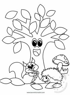 Tree Coloring Page Tree Coloring Page, Coloring Book Pages, Coloring Sheets, Autumn Crafts, Autumn Art, Diy And Crafts, Crafts For Kids, Paper Crafts, Autumn Activities