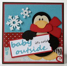 Christmas card - Baby it's Cold Outside penguin card. $5.00, via Etsy.