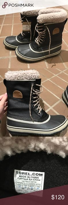 Sorel 1964 Premium Snow Boots Black and fleece waterproof snow boots. Size 10 and NEVER worn. Color is BLACK FOSSIL Sorel Shoes Winter & Rain Boots