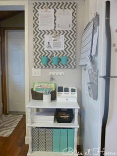 DIY Command Center - love the cute little stand to put in the corner for storage.