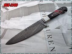 Damascus Steel Custom Made Chef Knife,Pukka Wood,Steel Bolsters.(HLK-214C) #Homelandknives