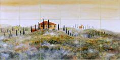 Tuscan landscape tiles splash back