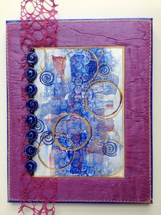 Mixed Media Fiber Art Wall Art  Blue Gold by StitchesnQuilts