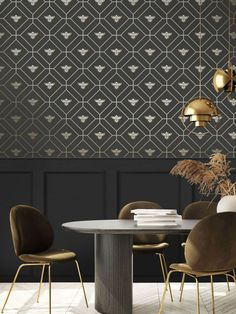 This beautiful Honeycomb Bee Wallpaper will add a stylish finishing touch to your home. The design features a metallic gold geometric honeycomb style pattern of interlocking octagon shapes with diamonds inside and a gold bee motif in the centre. This is set on a dark charcoal grey background with a smooth matte finish. Easy to apply, this high quality wallpaper would look great when used to create a feature wall or to decorate an entire room Animal Print Wallpaper, Paper Wallpaper, Bee Theme, High Quality Wallpapers, Stuffed Animal Patterns, Gray Background, Honeycomb, Pattern Fashion, Charcoal