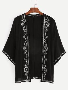 Kimono con bordado-Sheinside