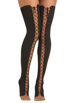 Lace Up and Away Tights - Black, Solid, Sheer, Pinup, Vintage Inspired