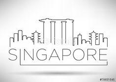 Vector: Singapore City Line Silhouette Typographic Design