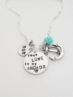Your Love is my Anchor by #Eight9Designs stamped necklace customize flower color length, comes with crystal, and anchor charm. For Mom, aunt, sister, grandma.