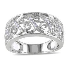 "<li>Round white diamond openwork ring</li> <li>14-karat white gold jewelry</li> <li><a href=""http://www.overstock.com/downloads/pdf/2010_RingSizing.pdf""><span class=""links"">Click here for ring sizing guide</span></a></li> <li>Gift box included</li>"