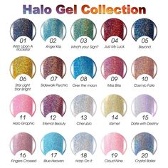 Gellen Halo Gel Series Gel Nail Polish 20 Colors The Whole Series, Hot Trend High Performance Manicure. PACKAGE: 20 Colors Capcity: 10ml Each. NEW ARRIVIAL!! Halo gel series, top gel technology, top quality pigments for stuning neons glitter with tremendous depth, true holographic and rich metallic finishes. Revolutionary custom tailored application system. 2 coats painting can rich the color and achieve advertisement's result. Actually it is 10-14 days around delivery time despite of...