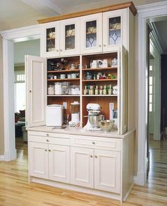 A baking center? I would love a baking center! Kitchen Redo, New Kitchen, Kitchen Storage, Kitchen Dining, Kitchen Ideas, Bakers Kitchen, Pantry Ideas, Kitchen Hutch, Kitchen Themes
