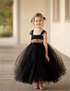 Black Tulle Girl Birthday Wedding Party Formal Flower Girls Dress Baby  Pageant Dresses 300 1cb61d3547c4