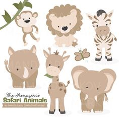 Premium African Safari Animals Clip Art & Vectors  Soft Brown