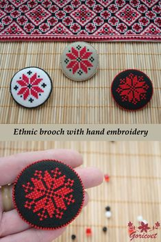 Ukrainian ethnic jewelry brooch pin gift for women gifts girlfriends fabric brooch red black hand embroidery symbol jewelry tribal jewelry