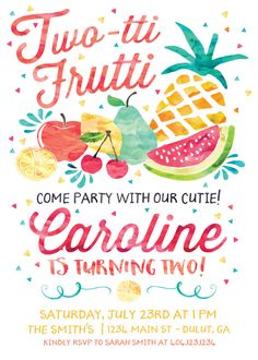 Twotti Frutti Birthday Invitation Tutti by TheEnchantedPrincess