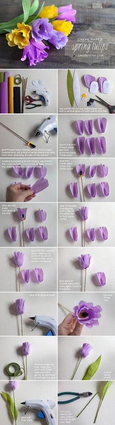 Tulipanes, con papel crepe!! Súper fácil y hermoso.