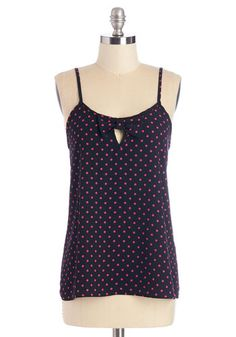 Peppy as Can Be Top. While piecing together the day's ensemble, put a little pep in your step by donning this adorable dotted tank! #blueNaN