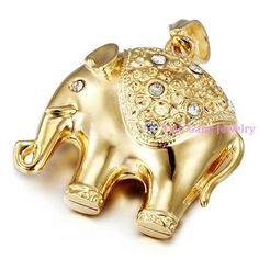 High Quality Gold Simulated Diamond Plated stainless steel Animal Elephant Twist Chain Necklaces Pendant Men Jewelry