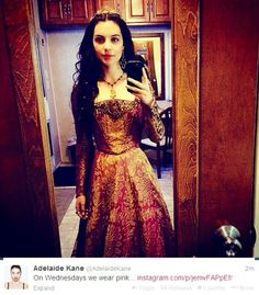 """Adelaide Kane making a """"Mean Girls"""" reference.  Classic!  """"We wear pink on Wednesdays."""""""