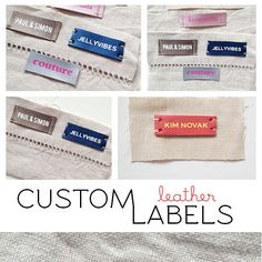 custom leather labels // set of 10 (various colors & fonts)