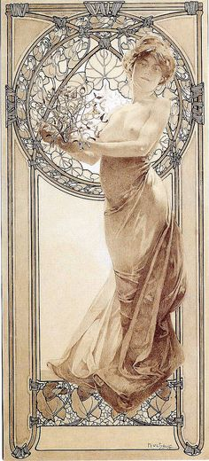 Alphonse Mucha Love the frame in this - the detail of it tied up with twine. Also like the flowers at the bottom and the stained glass window effect behind her. Think it would look great with more flowers climbing up the side borders. Art Nouveau Prague, Art Nouveau Mucha, Alphonse Mucha Art, Art Nouveau Poster, Art Deco Posters, Illustration Art Nouveau, Jugendstil Design, Art Vintage, Vintage Posters