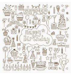 Hand drawn birthday elements set of birthday party vector by saenal78 on VectorStock®