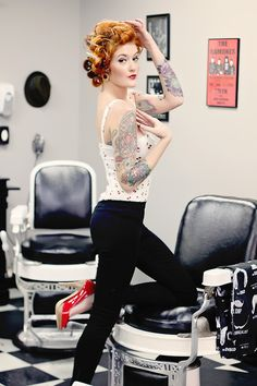 Pin-Up - Model & Makeup Nicole Brown Hair Dawn Sparks Photography Brittania Garden Photoart Shot at Pomade & Tonic Barbershop