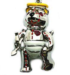 Guardian Bear- 4134, Silver, white Rhodium, Ruby eyes & heart. RRP$189