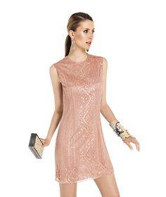pudra rengi işlemeli mini gece elbiseleri