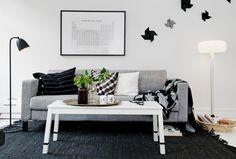 Decoración en blanco, negro y gris