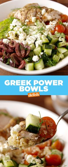 Greek Power Bowls Recipe Recipes Food And Salad Diet Recipes, Chicken Recipes, Cooking Recipes, Healthy Recipes, Recipies, Easy Clean Eating Recipes, Cooking Bacon, Recipes Dinner, Dinner Bowls