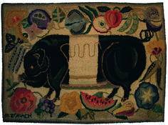 """THE BLACK PIG HOOKED RUG / Marguerite Zorach (1887–1968) , probably Maine, 1944, wool on linen backing; mounted on board, 37 x 54 1/2"""", Private collection. Ex coll. Marguerite and William Zorach. Photo courtesy Mildred and Marius Peladeau."""