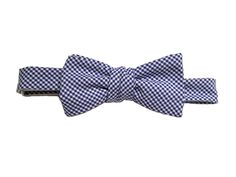 Blue Gingham Cotton Bow $30