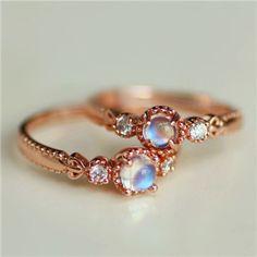 Rose Gold Moonstone Dainty Engagement Ring for Women