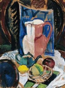 """Perlrott-Csaba Vilmos - """"KUT""""-as csendélet, 1928 Dresser Drawers, Still Life, Table Settings, Table Decorations, Paintings, Candy, Flowers, Home Decor, Drawers"""