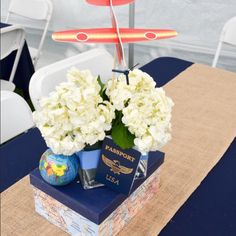 58 Trendy Ideas for baby shower centerpieces vintage themed parties Baby Boy Birthday Themes, Boy Baby Shower Themes, Baby Boy Shower, Birthday Ideas, Airplane Baby Shower, Airplane Party, Airplane Travel, Mesas Para Baby Shower, Travel Baby Showers