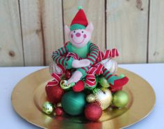 Items similar to Santas Elf Christmas Centerpiece - Holiday Party Table Decor - Christmas Wedding - Corporate Holiday Party - Red Green Gold on Etsy Christmas Party Centerpieces, Party Table Decorations, Christmas Table Decorations, Ward Christmas Party, Christmas Elf, Christmas Ornaments, Christmas Wedding, Christmas Ideas, Christmas Crafts